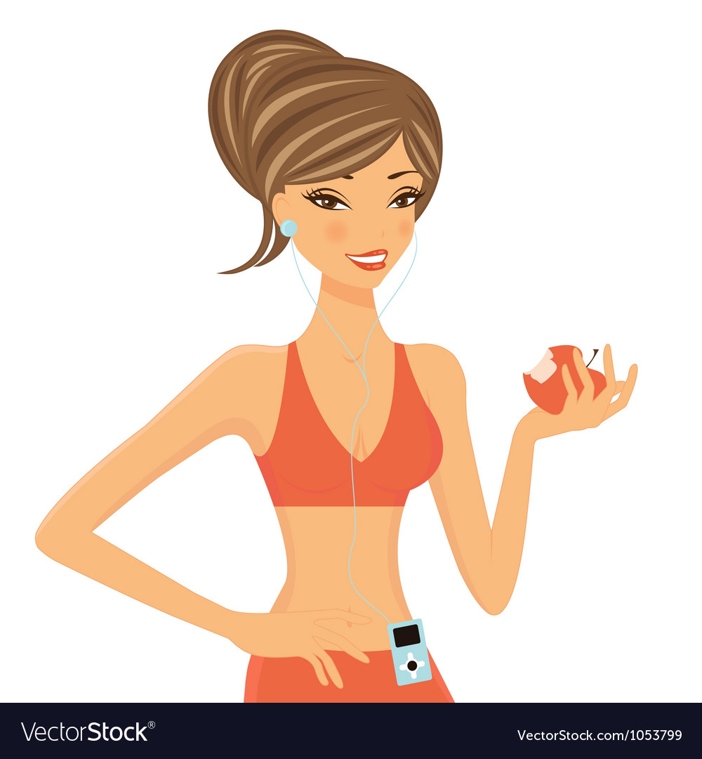 Fitness girl with apple vector | Price: 1 Credit (USD $1)