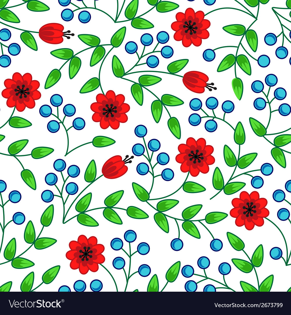 Flowers and berries vector | Price: 1 Credit (USD $1)