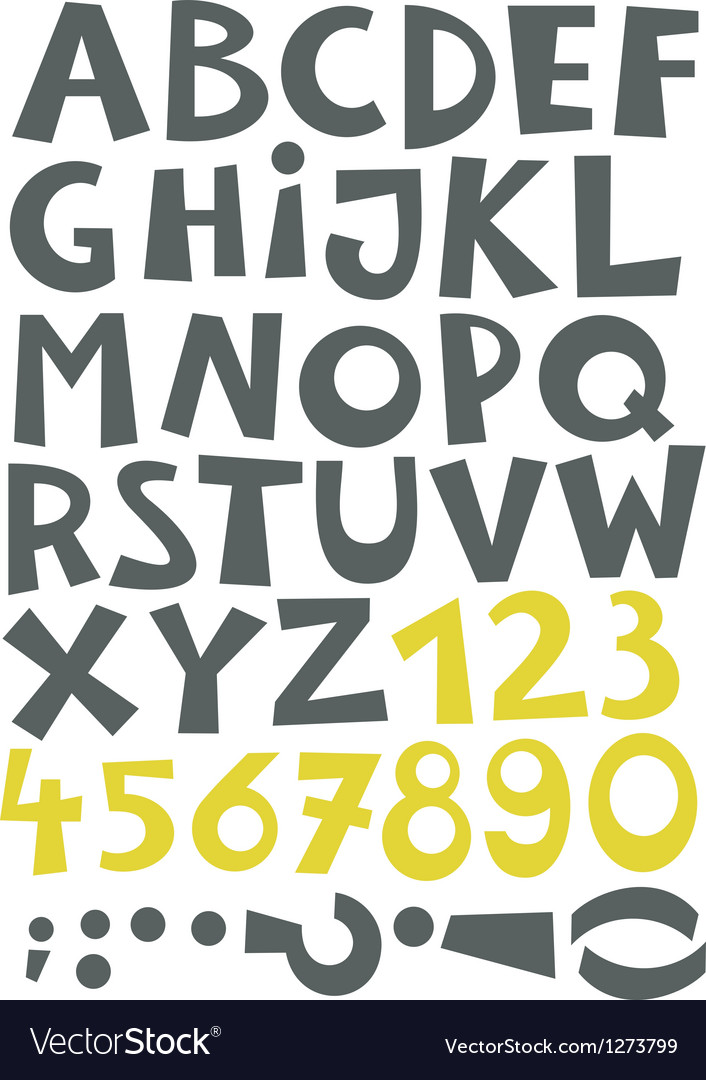 Font set letters and numbers vector | Price: 1 Credit (USD $1)