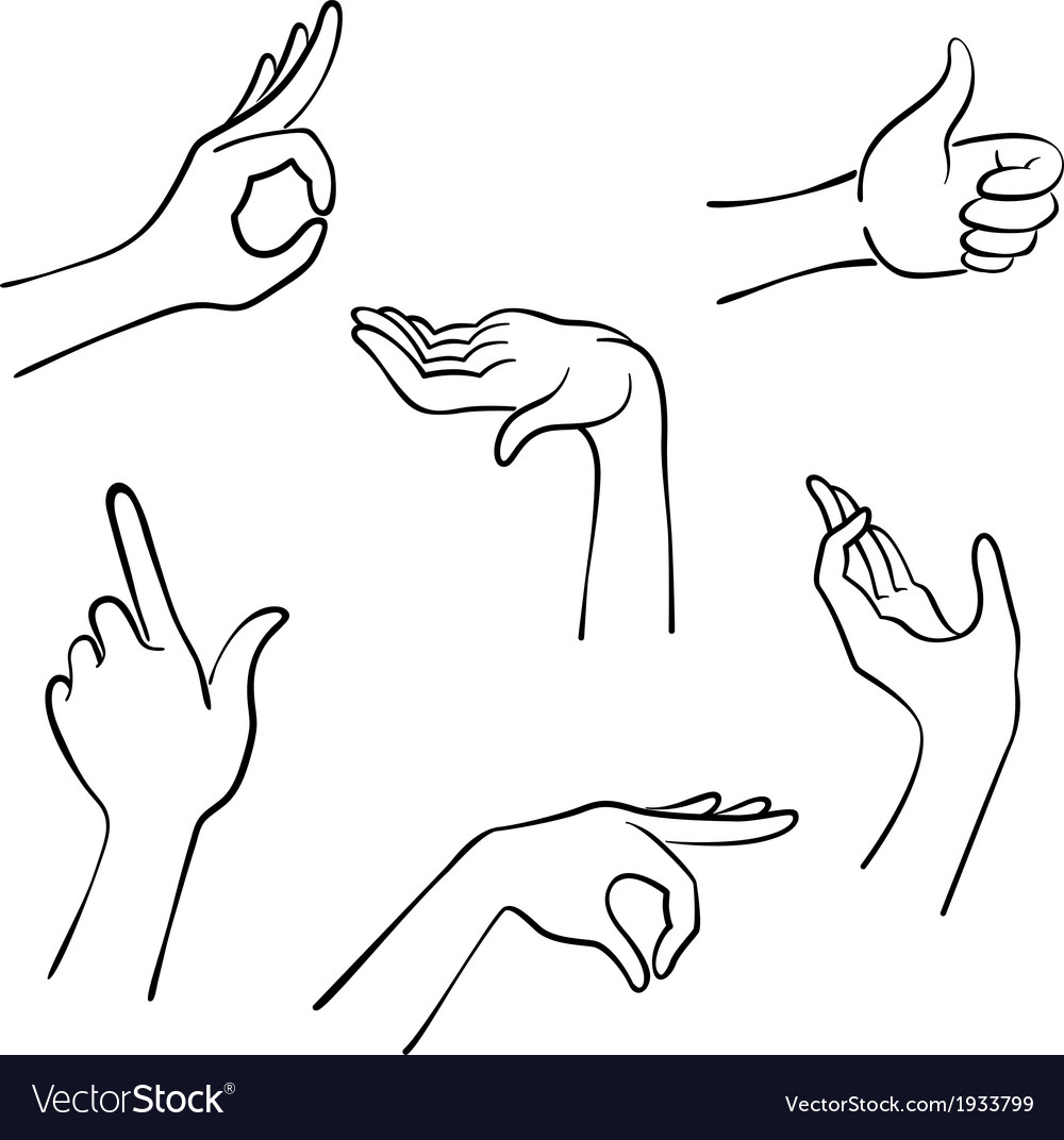 Hands lines icons in a realistic poses vector | Price: 1 Credit (USD $1)
