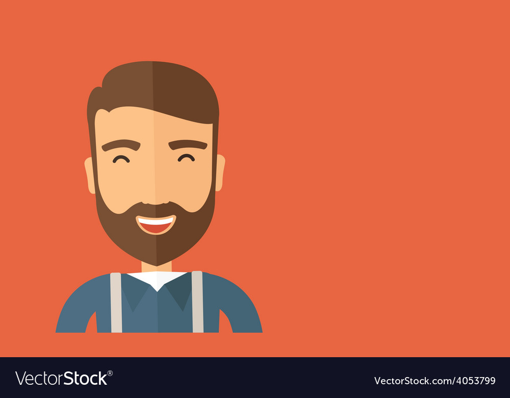The hipster is laughing vector | Price: 1 Credit (USD $1)