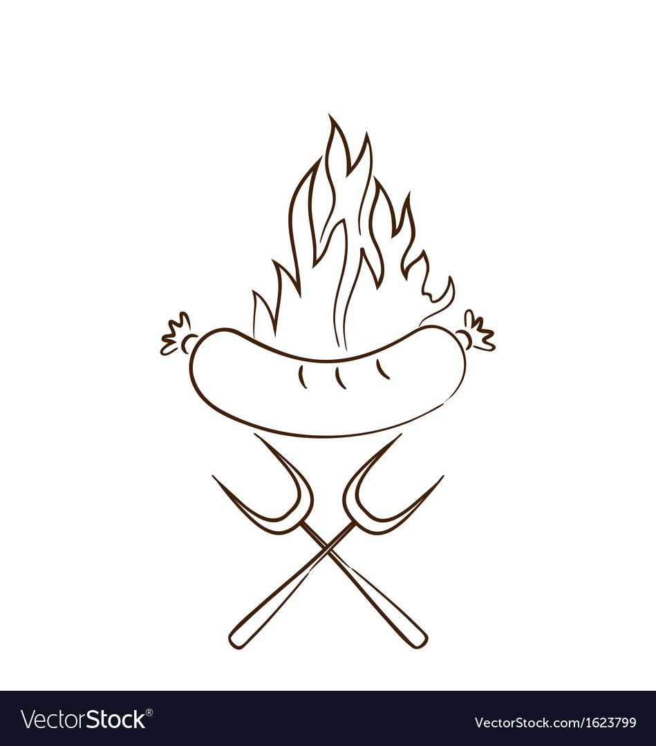 Hot sausage in flames vector | Price: 1 Credit (USD $1)