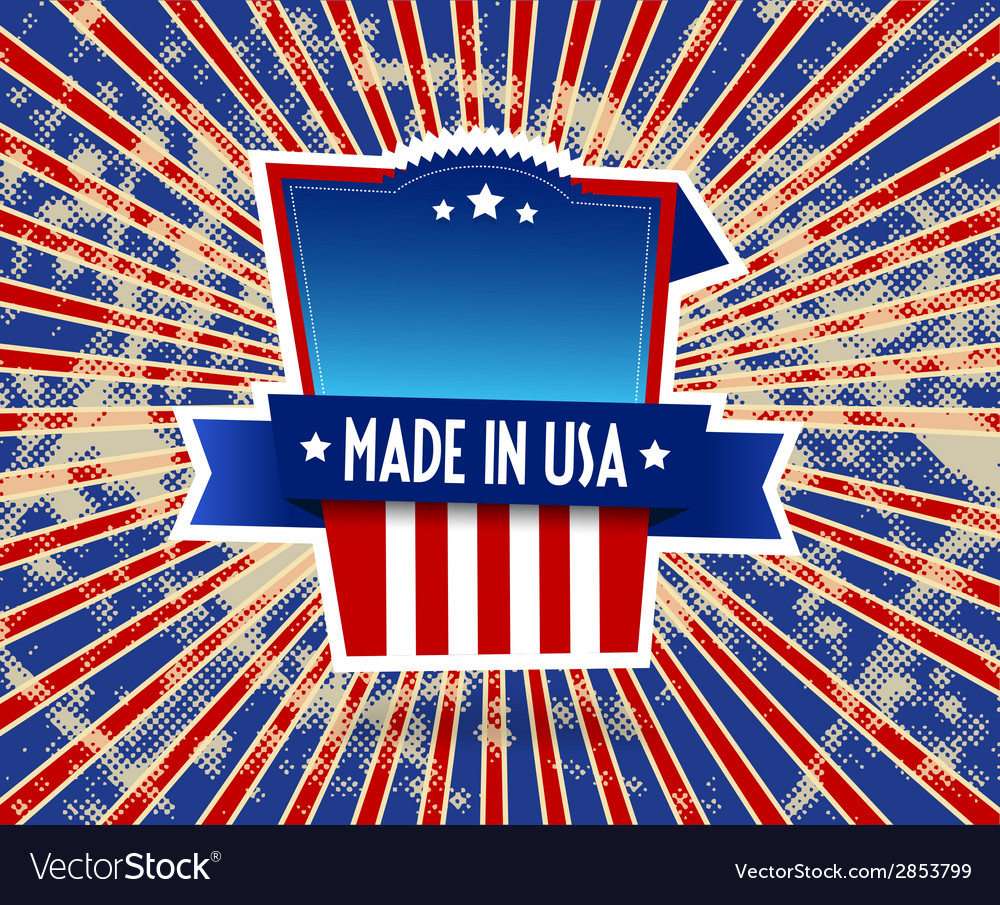 Made in usa label on grunge background vector | Price: 1 Credit (USD $1)
