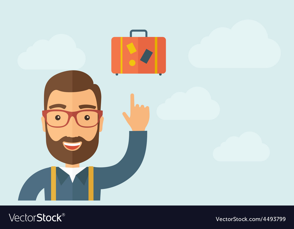 Man pointing the retro luggage icon vector | Price: 1 Credit (USD $1)