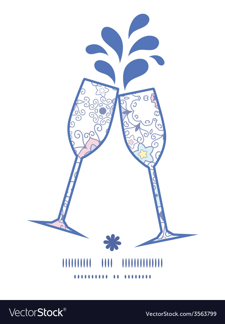 Ornamental abstract swirls toasting wine glasses vector   Price: 1 Credit (USD $1)