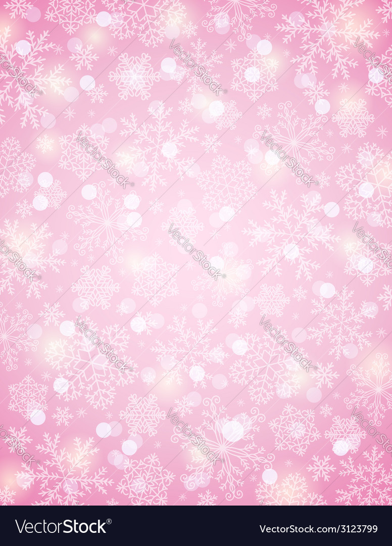 Pink background with snowflakes vector | Price: 1 Credit (USD $1)