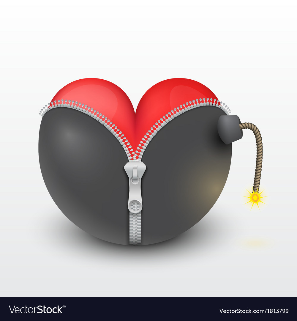 Red heart inside the black bombs vector | Price: 1 Credit (USD $1)