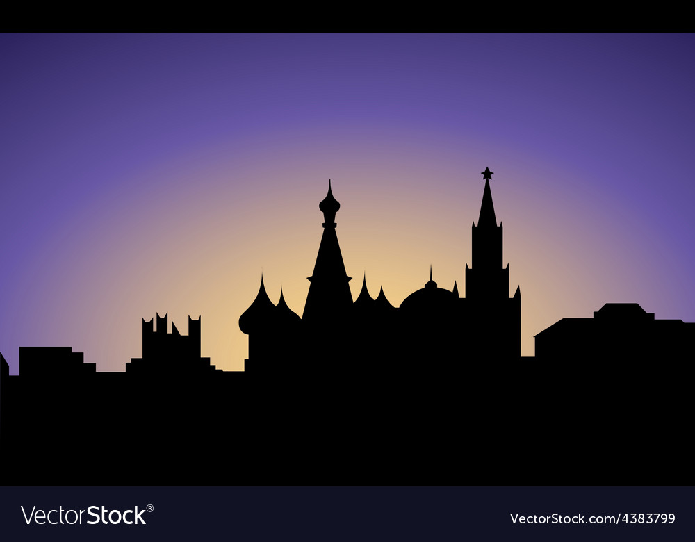 Silhouette of moscow city russia vector