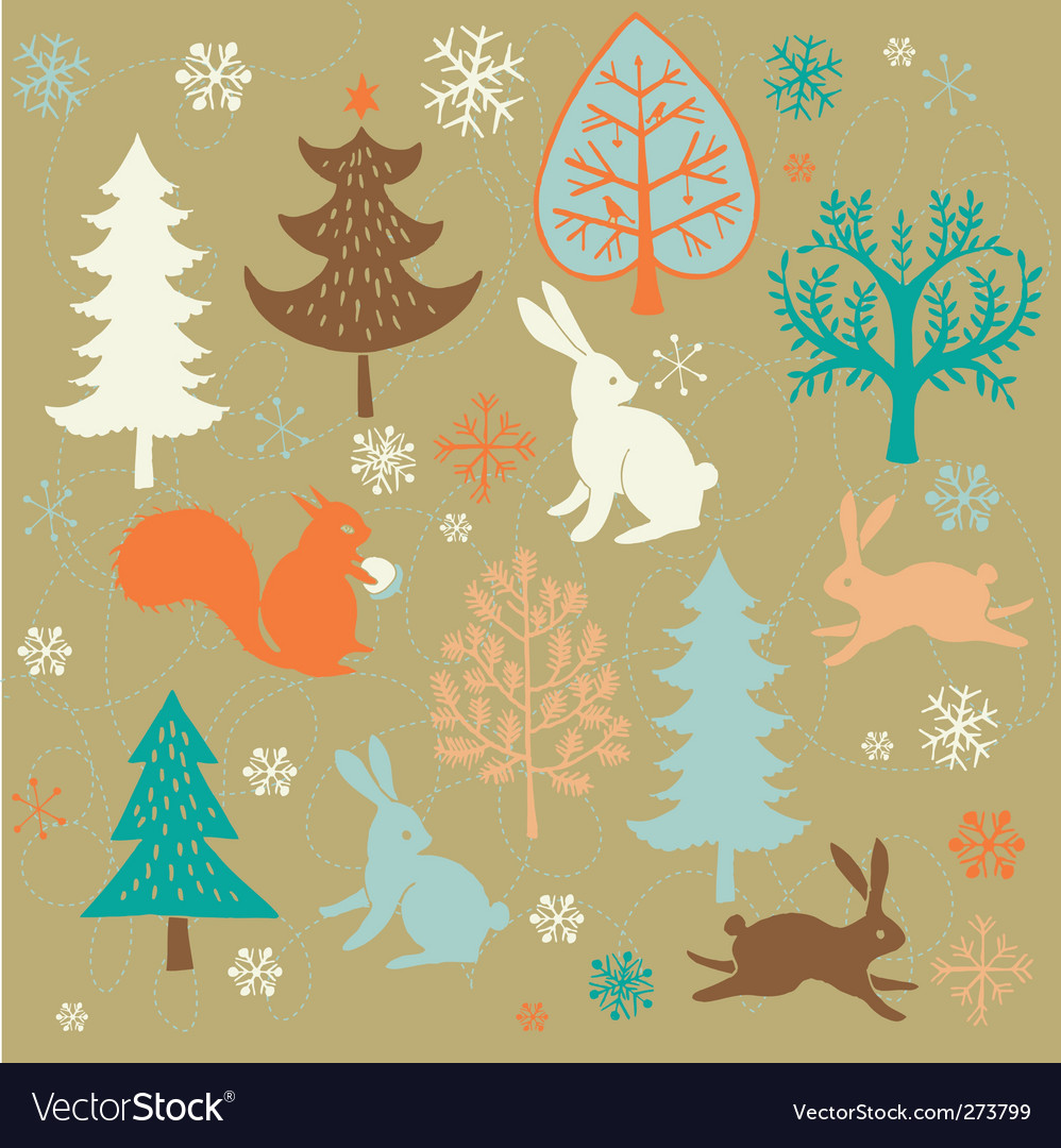Winter christmas forest vector | Price: 1 Credit (USD $1)