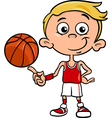 Boy basketball player cartoon vector
