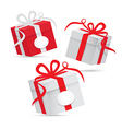 Paper gift box set - silver and red isolated on vector