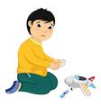 Boy with his broken toy vector