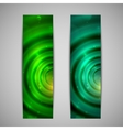 Set of abstract green glowing banners vector