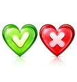 Heart shapes with tick and cross vector