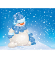 Snowman snowfall blue vector