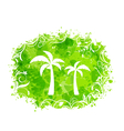 Abstract stain frame with palm trees vector