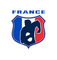 Rugby player france flag shield vector