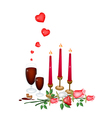 Valentine candles with lovely rose and wine vector
