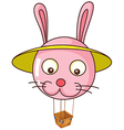A floating bunny balloon carrying an empty basket vector
