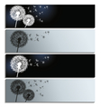 Set of banners with black and white dandelion vector