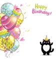 Happy birthday card background with a cat vector
