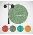 Set vintage street lights on colored backgrounds vector