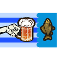 Postcard advertising beer and fish vector