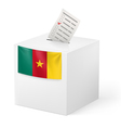 Ballot box with voting paper cameroon vector