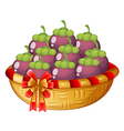 A basket of eggplants vector