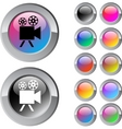 Video camera multicolor round button vector