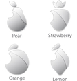 Metallic fruits set isolated on white background vector