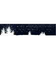 Dark blue banner with christmas trees vector