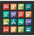 Flat fitness and health icons set vector