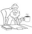 Cartoon santa claus sitting at a desk vector