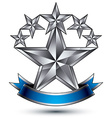Renown silver star emblem with wavy ribbon 3d vector