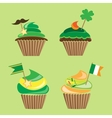 Set of cupcakes for stpatricks day vector