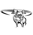 Wild horned buffalo in cartoon style vector
