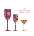 Colorful stars three wine glasses silhouettes vector