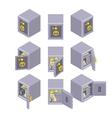 Isometric metal safe storage vector