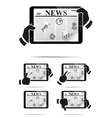Hands holding tablet pc with news vector