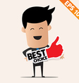 Business man holding stitcker best tag collection vector