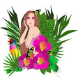 Tropical flowers and leaves and beautiful woman vector