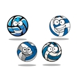 Cartooned blue and white volleyball balls vector