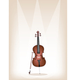 A beautiful brown cello on stage background vector