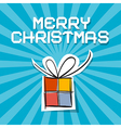 Merry christmas - paper gift box on blue ret vector