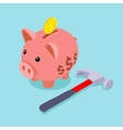 Piggy bank with golden coin and lying hammer vector