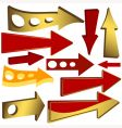 Set of gold and red arrow icons vector