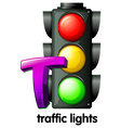A letter t for traffic lights vector
