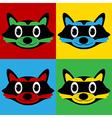 Pop art raccoon icons vector