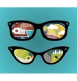 Retro sunglasses with super abstract reflection vector